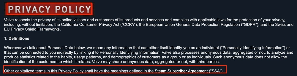 Steam Privacy Policy: Definitions clause with Subscriber Agreement highlighted