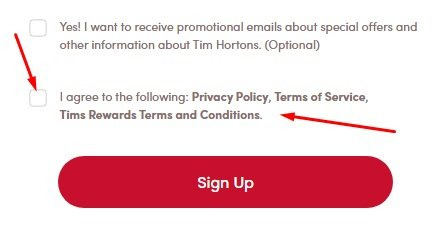Tim Hortons sign-up form with Agree to Policy and Terms checkbox