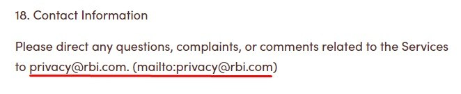Tim Hortons Terms of Service: Contact Information clause
