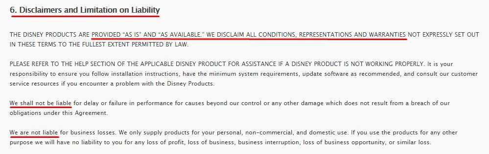 Walt Disney Company Terms of Use: Disclaimers and Limitation on Liability clause