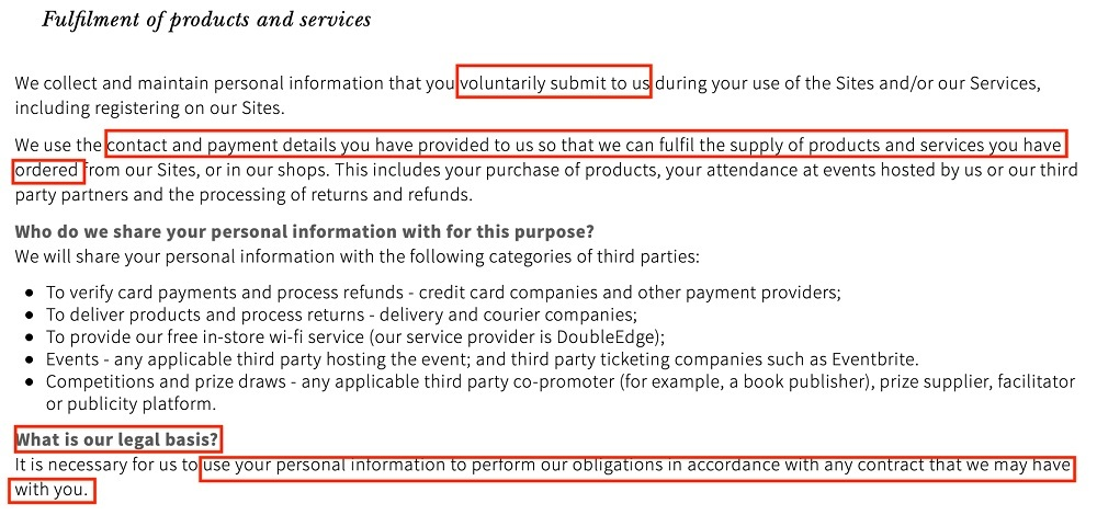 Waterstones Privacy Policy: Fulfilment of Products and Services and Legal Basis clause