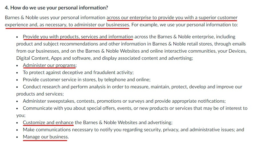 Barnes and Noble Privacy Policy: How do we use your personal information clause
