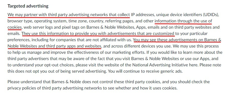 Barnes and Noble Privacy Policy: Targeted advertising clause