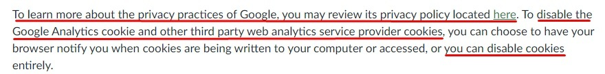 Barnes and Noble Privacy Policy: Third Party Web Analytics Services clause - Google section