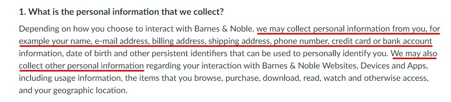 Barnes and Noble Privacy Policy: What is the personal information that we collect clause
