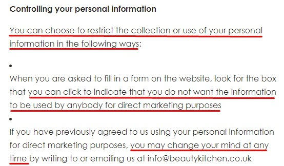 Beauty Kitchen Privacy Policy: Controlling your personal information clause