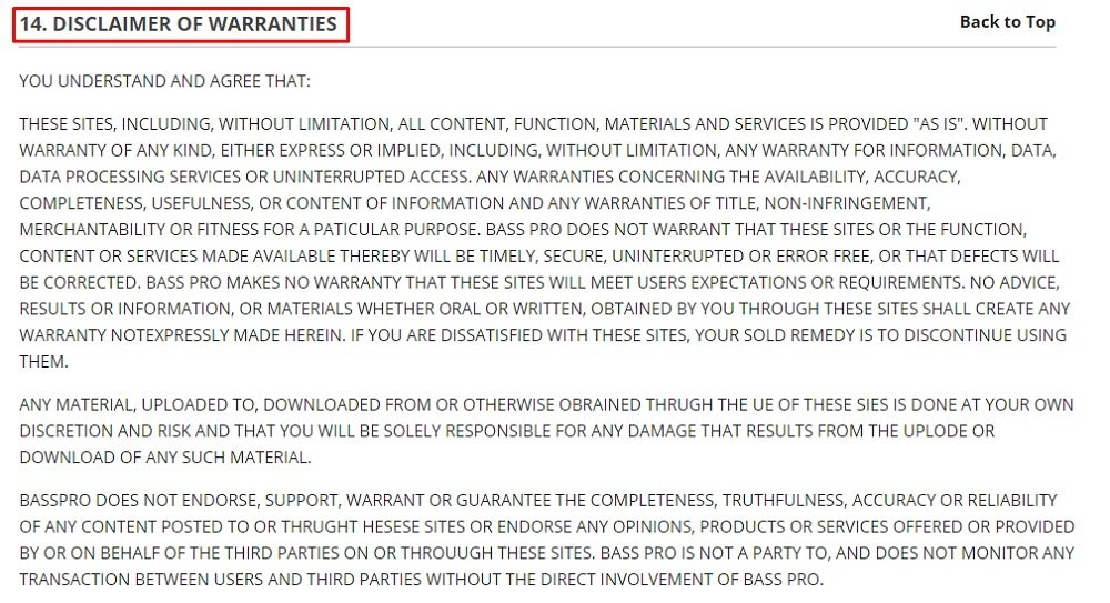 Cabelas Terms of Use: Disclaimer of Warranties clause