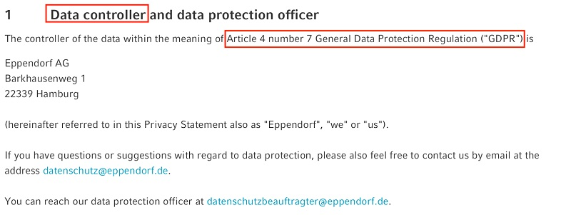 Eppendorf Privacy Statement: Data Controller and Data Protection Officer clause excerpt