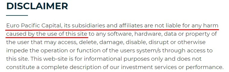 Euro Pacific Capital Legal Information: Disclaimer intro excerpt
