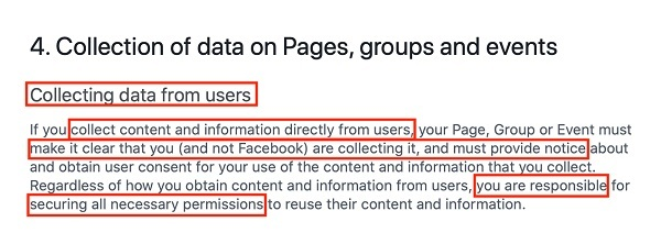 Facebook Pages, Groups and Events Policies: Collection of data on Pages, groups and events clause excerpt