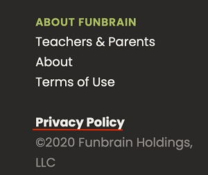 Funbrain website footer with Privacy Policy highlighted