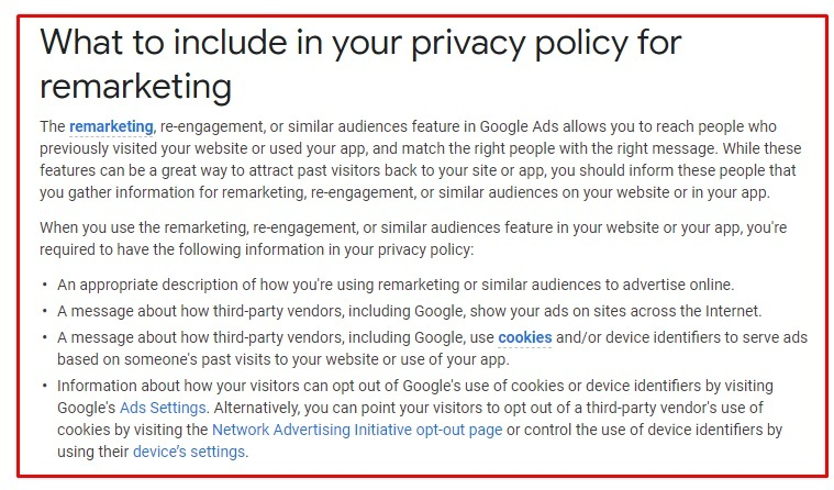 Google Ads Help: What to include in your Privacy Policy for remarketing page