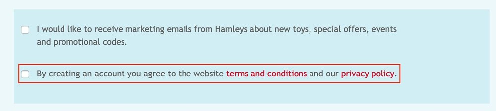 Hamleys Create Account checkbox to agree to Terms and Conditions and Privacy Policy