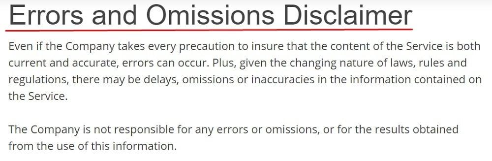 LA Rag Maker Errors and Omissions Disclaimer