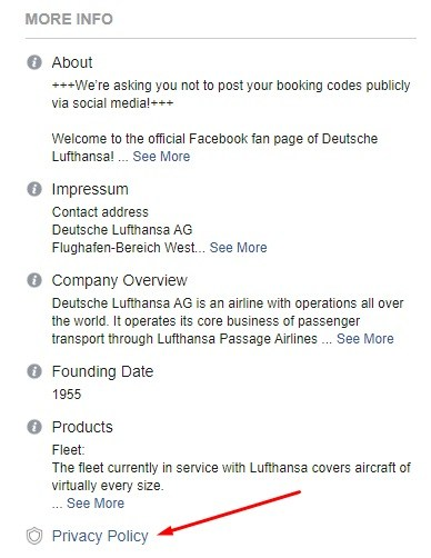 Lufthansa Facebook Page: About - Privacy Policy link highlighted