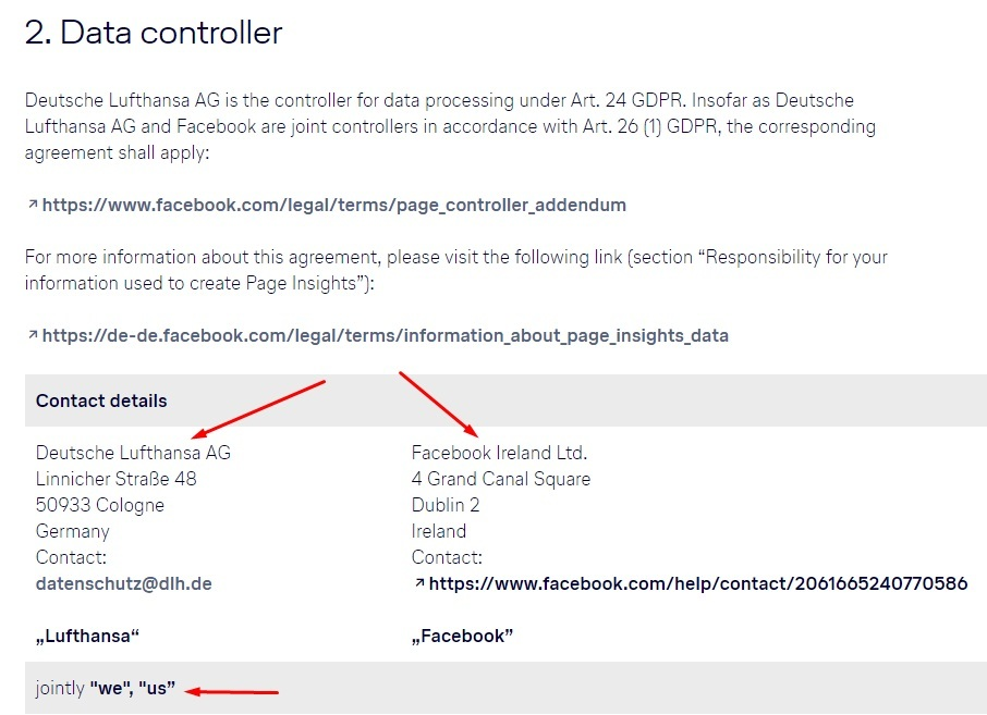 Lufthansa Privacy Policy for Facebook Page: Data controller contact clause