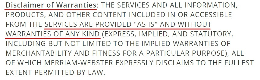 Merriam-Webster Terms of Use: Disclaimer of Warranties