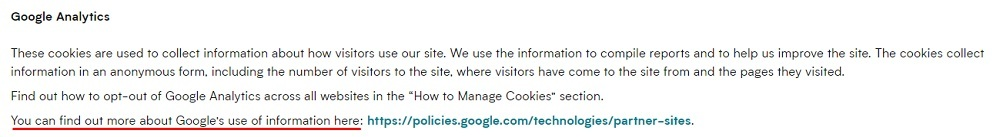 Myprotein Cookies Policy: Google Analytics clause
