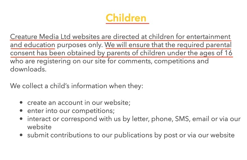 National Geographic Kids Privacy Policy: Children clause
