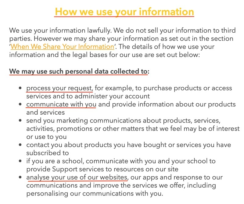 National Geographic Kids Privacy Policy: How we use your information clause