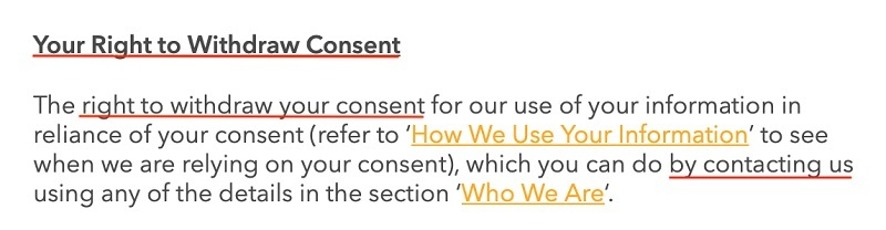 National Geographic Kids Privacy Policy: Your Right to Withdraw Consent clause