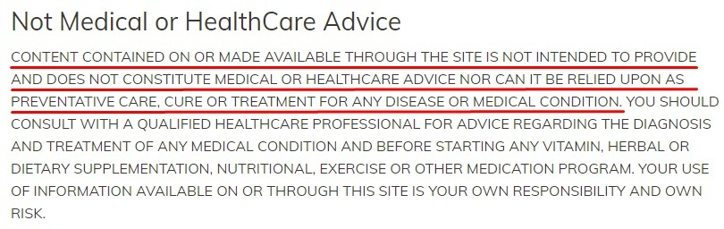 Now Foods Terms and Conditions: Not Medical or HealthCare Advice disclaimer