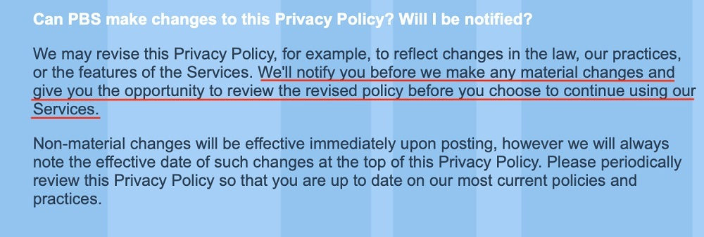 PBS Kids Privacy Policy: Changes to the Privacy Policy clause