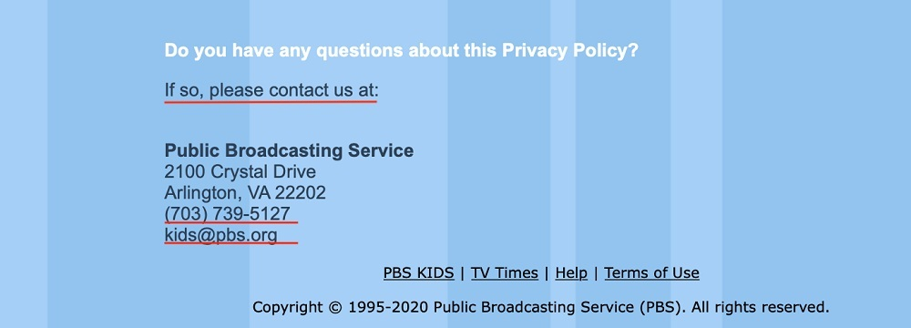 PBS Kids Privacy Policy: Contact clause