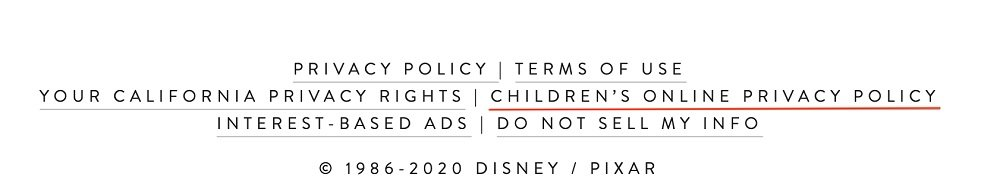 Pixar website footer with Children's Privacy Policy link highlighted