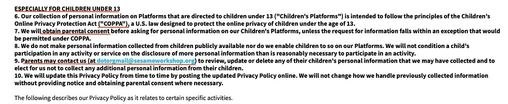 Sesame Street Privacy Policy: Children clause