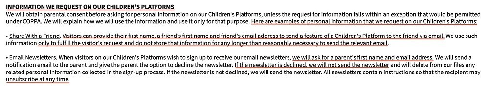 Sesame Street Privacy Policy: Information We Request on our Children's Platforms clause
