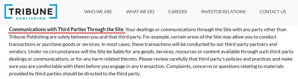 Tribune Publishing Terms of Service: Communications with Third Parties Through the Site disclaimer clause