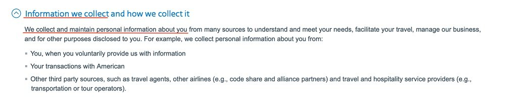 American Airlines Privacy Policy: Information we collect and how we collect it clause excerpt