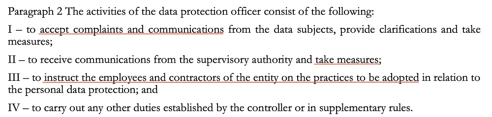 LGPD Article 41 Paragraph 2: Data Protection Officer activities