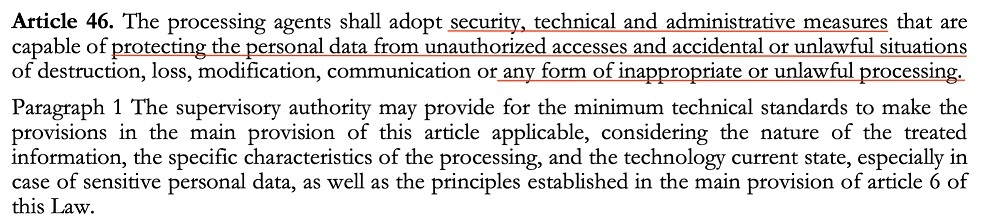 LGDP Article 46 Paragraph 1: Security measures for protecting personal data