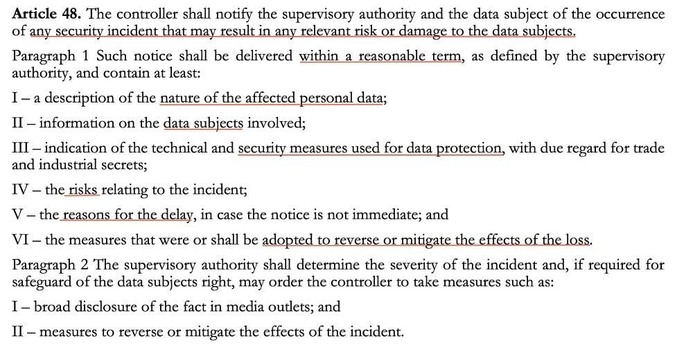 LGDP Article 48: Reporting data breaches