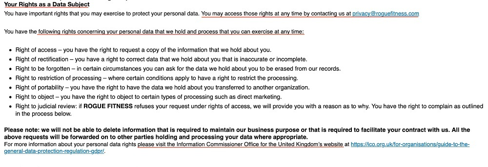 Rogue Fitness Privacy Policy: Your Rights as a Data Subject clause