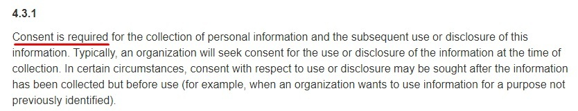 Government of Canada Justice Laws Website: PIPEDA - Principle 4 3 1: Consent is required