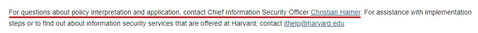 Harvard University Information Security Policy: Contact clause