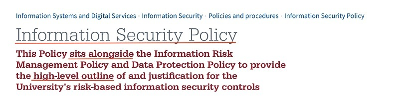 Manchester Metropolitan University Information Security Policy: Introduction section