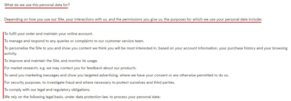 MyProtein Privacy Policy: What do we use personal information for clause