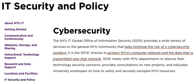 NYU IT Security Policy: Cybersecurity introduction section