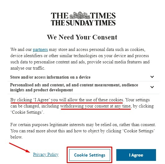 The Times Cookie Consent Notice