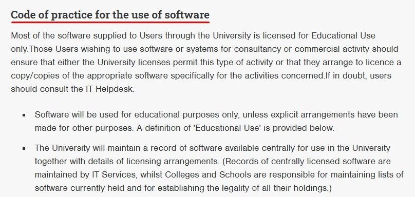University of Glasgow IT Services Policy: Excerpt of Code of practice for the use of software clause