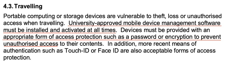 University of Huddersfield IT Security Policy: Mobile and Remote Computing clause - Travelling section