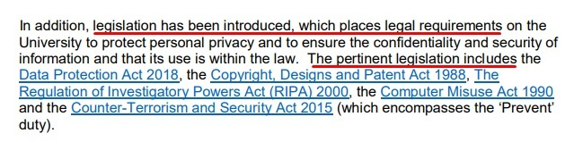 University of Huddersfield IT Security Policy: Pertinent legislation clause