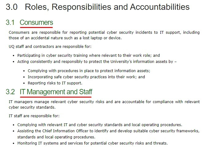 University of Queensland Cyber Security Policy: Roles Responsibilities and Accountabilities clause - Consumers and IT Management and Staff sections