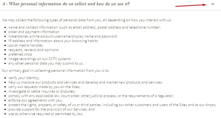 Waterstones Privacy Policy: What personal information do we collect and how do we use it clause excerpt
