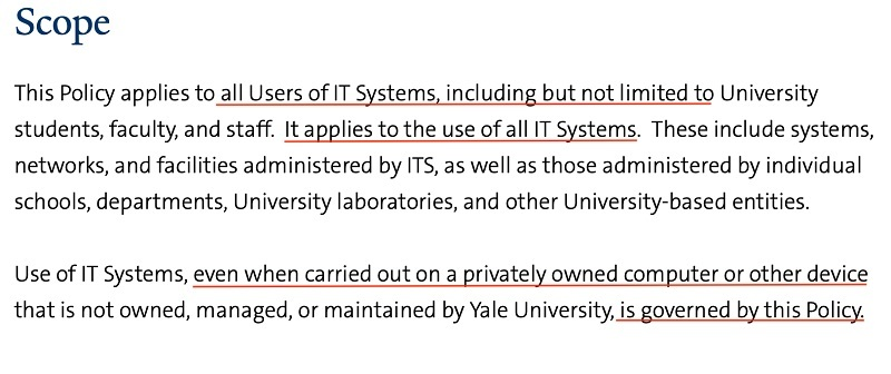 Yale University IT Appropriate Use Policy: Scope clause