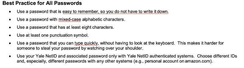 Yale University Selecting Good Passwords guide: Best Practice for All Passwords section